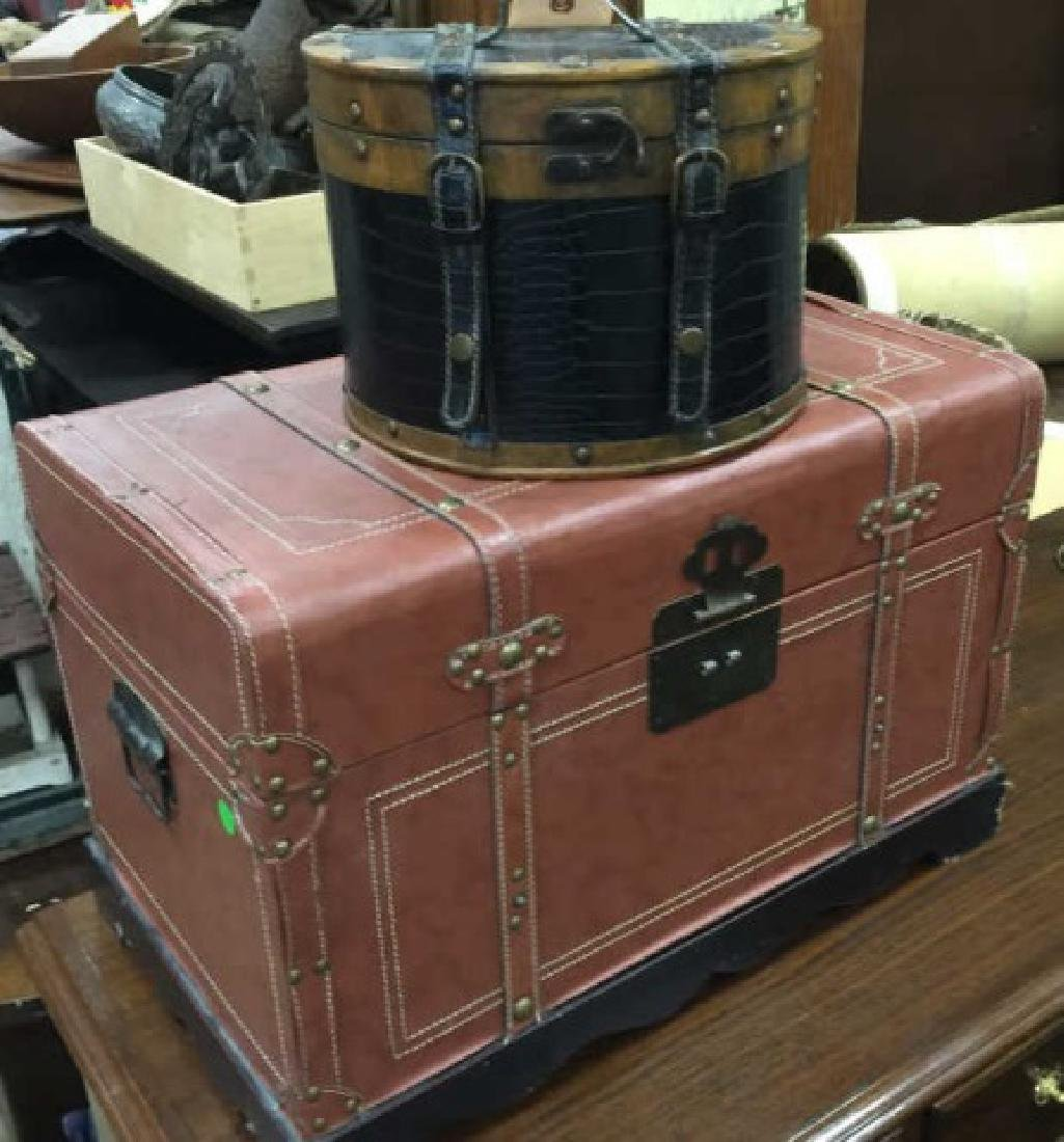 Small Leather Decorative Trunk & Train Case Bag