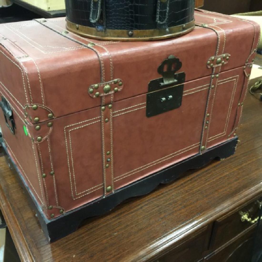 Small Leather Decorative Trunk & Train Case Bag - 2
