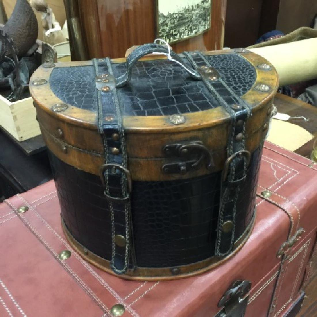 Small Leather Decorative Trunk & Train Case Bag - 3