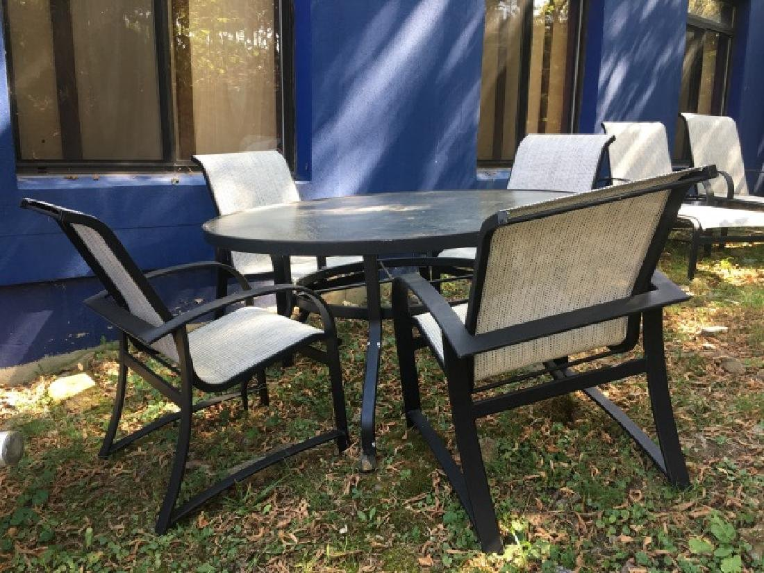 Glass Top Outdoor Patio Dining Table & 4 Chairs