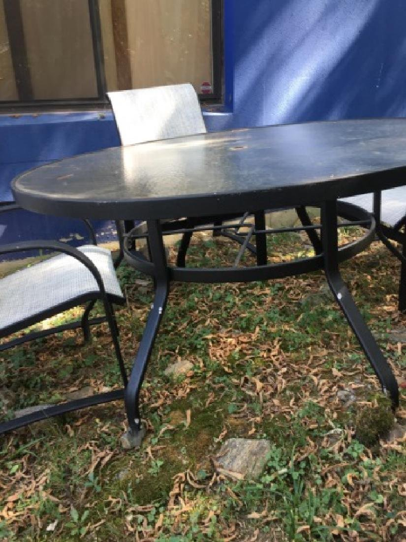 Glass Top Outdoor Patio Dining Table & 4 Chairs - 3