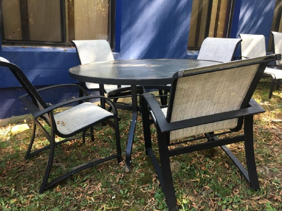 Glass Top Outdoor Patio Dining Table & 4 Chairs - 4