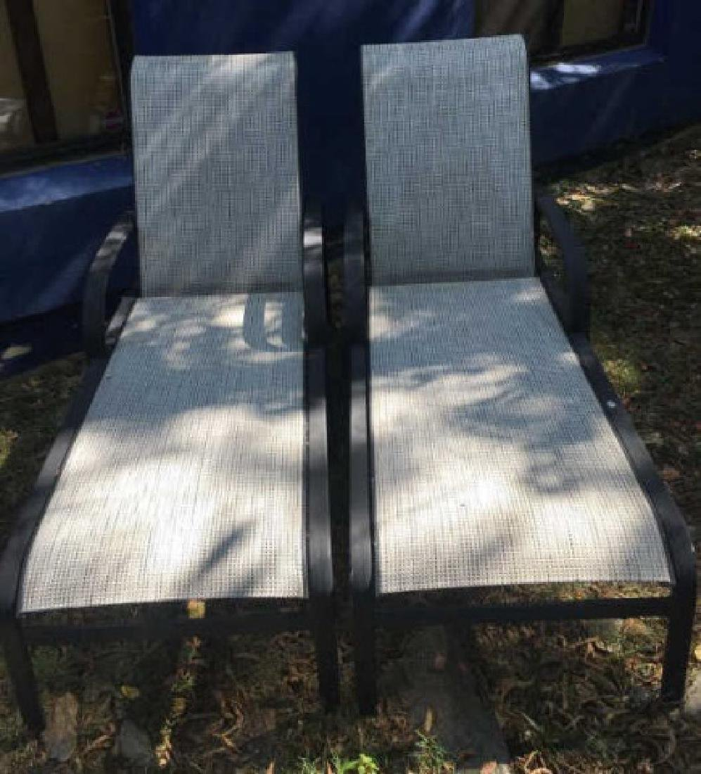 Pair Contemporary Mesh Chaises Lounges