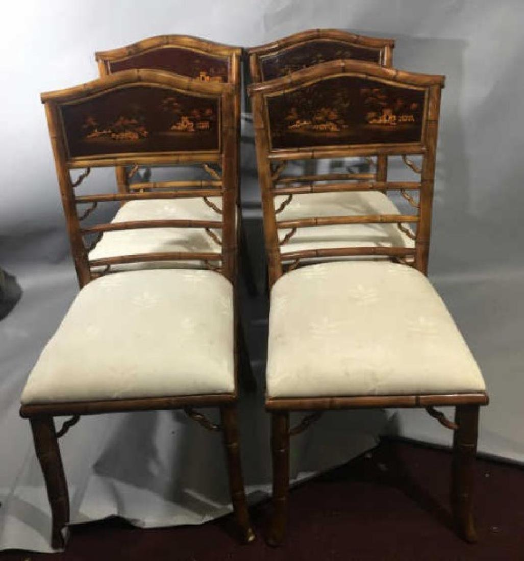 4 Bamboo Frame Chinese Style Dining Chairs