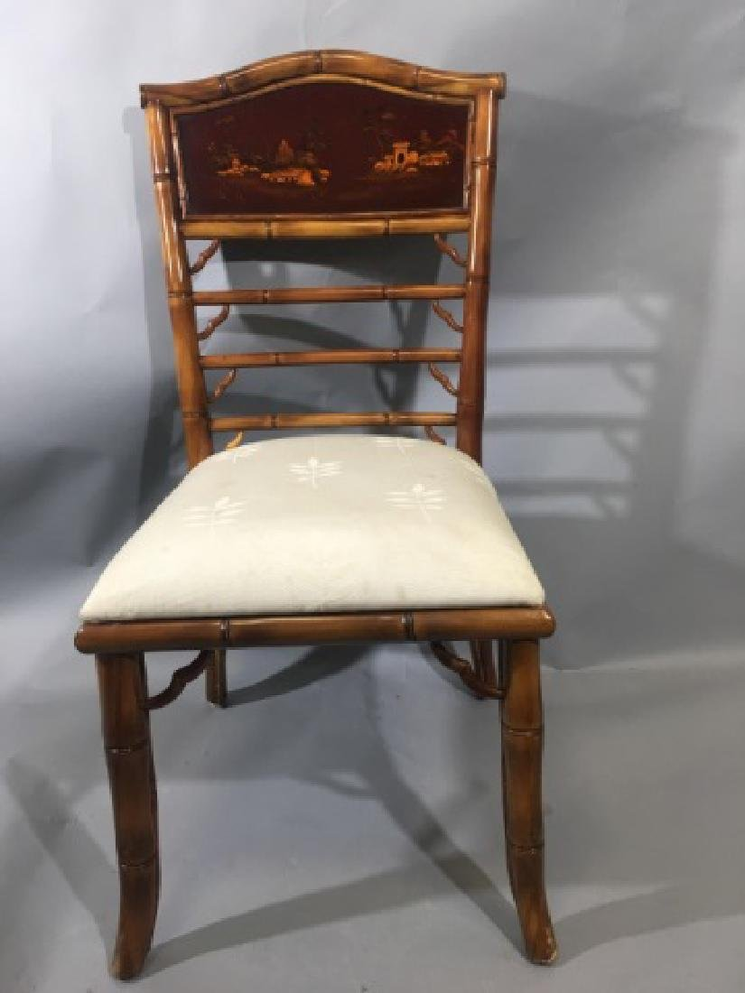 4 Bamboo Frame Chinese Style Dining Chairs - 4