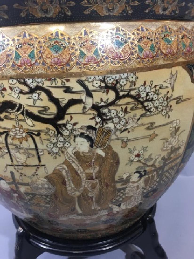 Large Ornate Chinese Painted Ceramic Planter Pot - 5