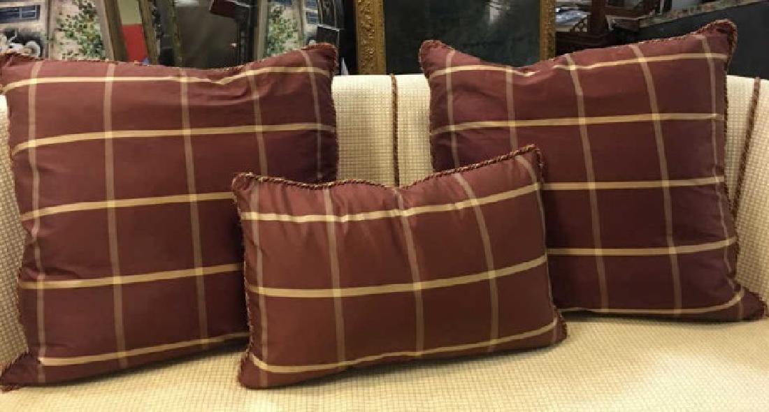 2 Elegant Euro Size Down Pillows & 1 Lumbar Pillow