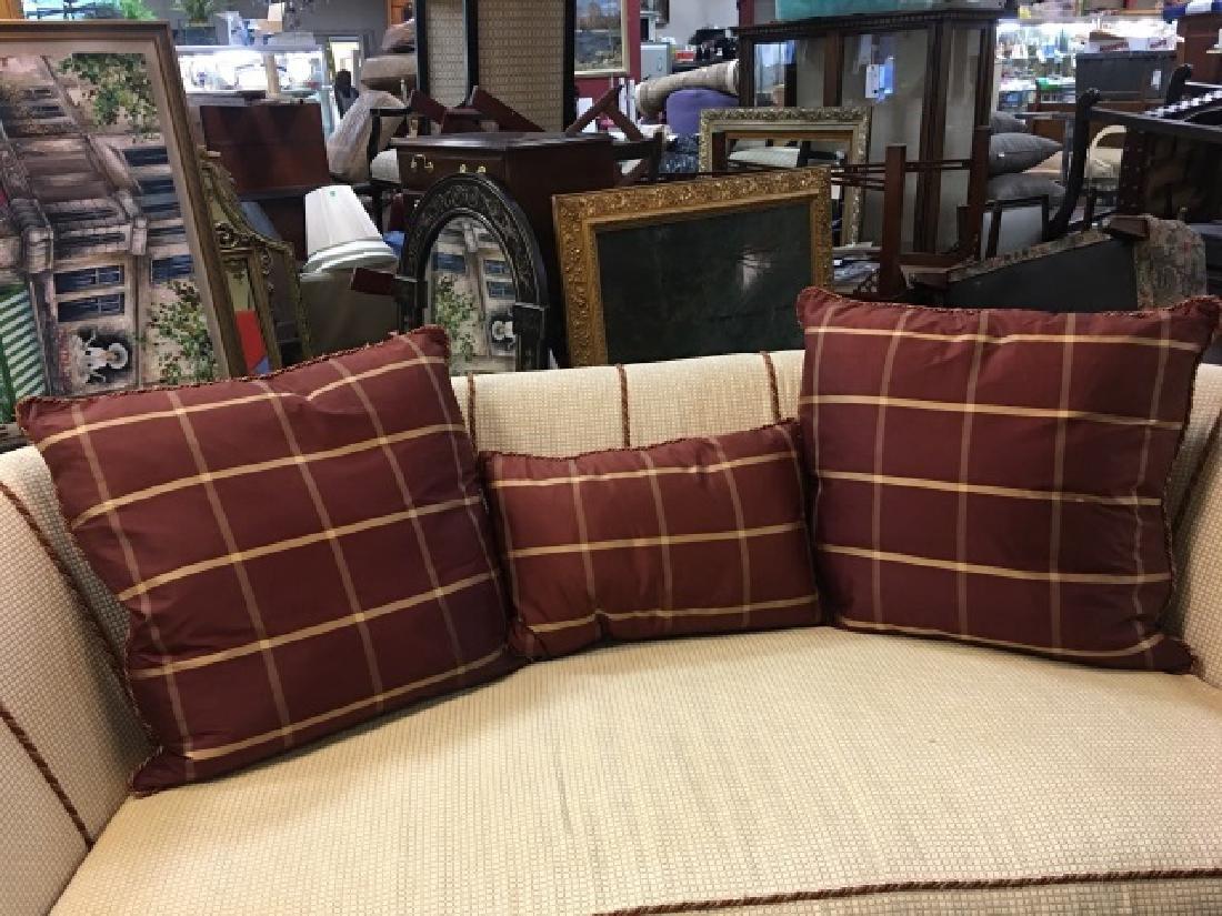 2 Elegant Euro Size Down Pillows & 1 Lumbar Pillow - 6