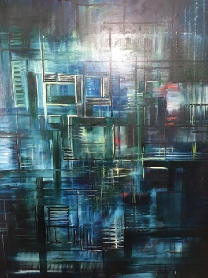 Saldarriaga Signed 1997 Modern Art Oil Painting