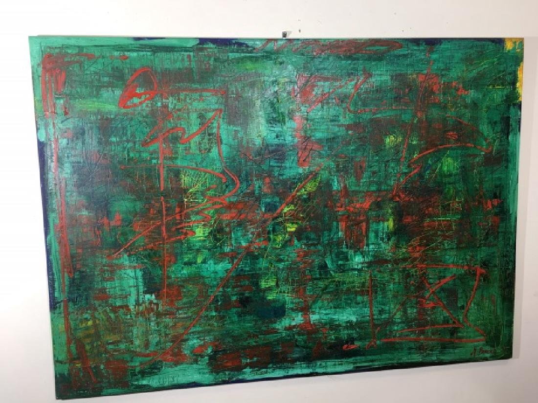 Burisch Signed 1997 Modern Art Painting on Canvas - 2