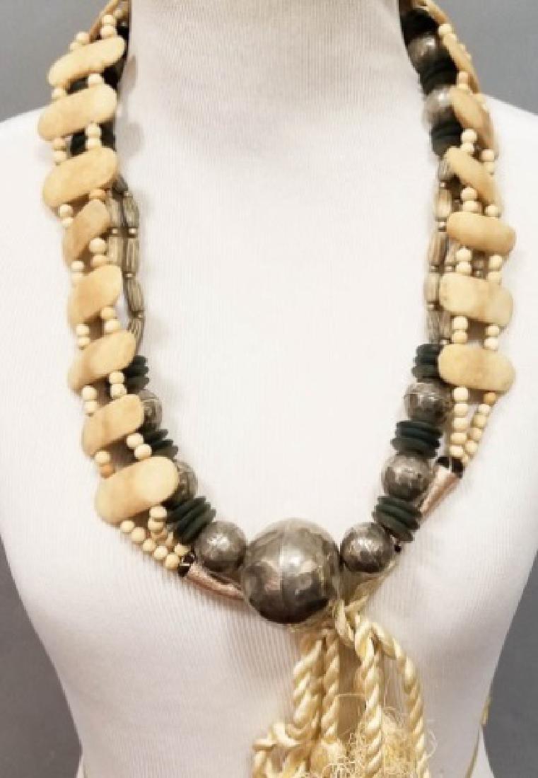 Estate Vintage Tibetan Necklace & Bone Necklace
