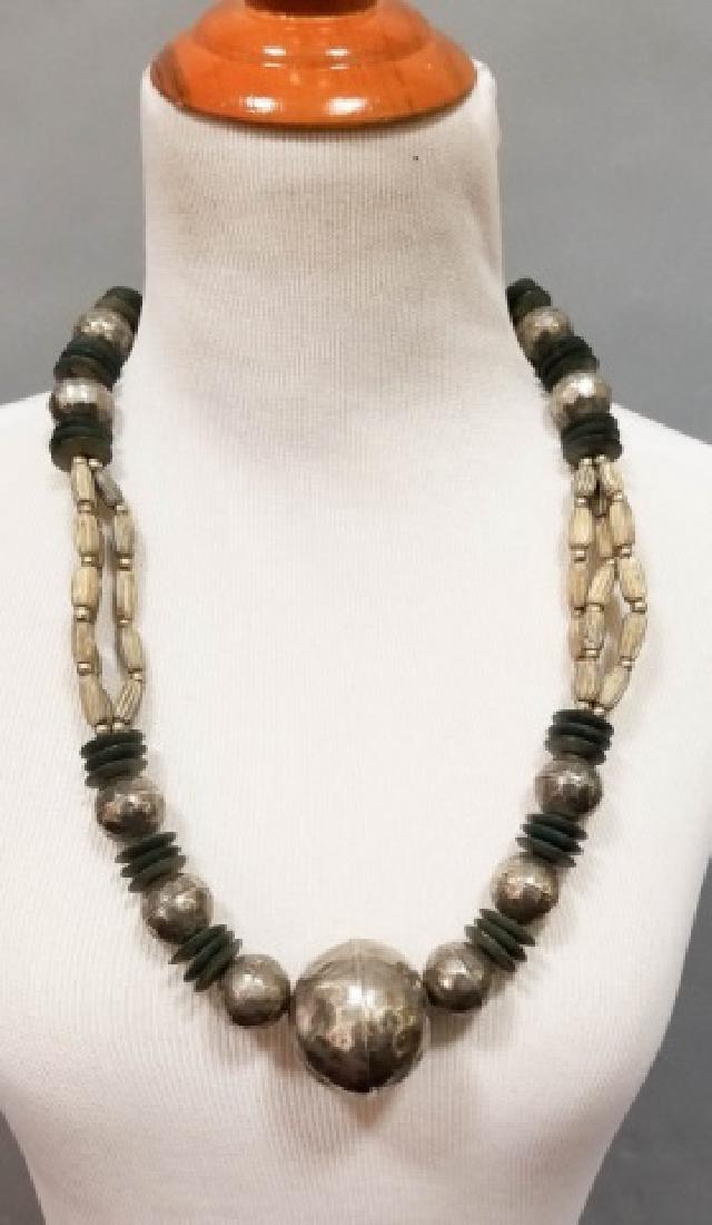 Estate Vintage Tibetan Necklace & Bone Necklace - 3