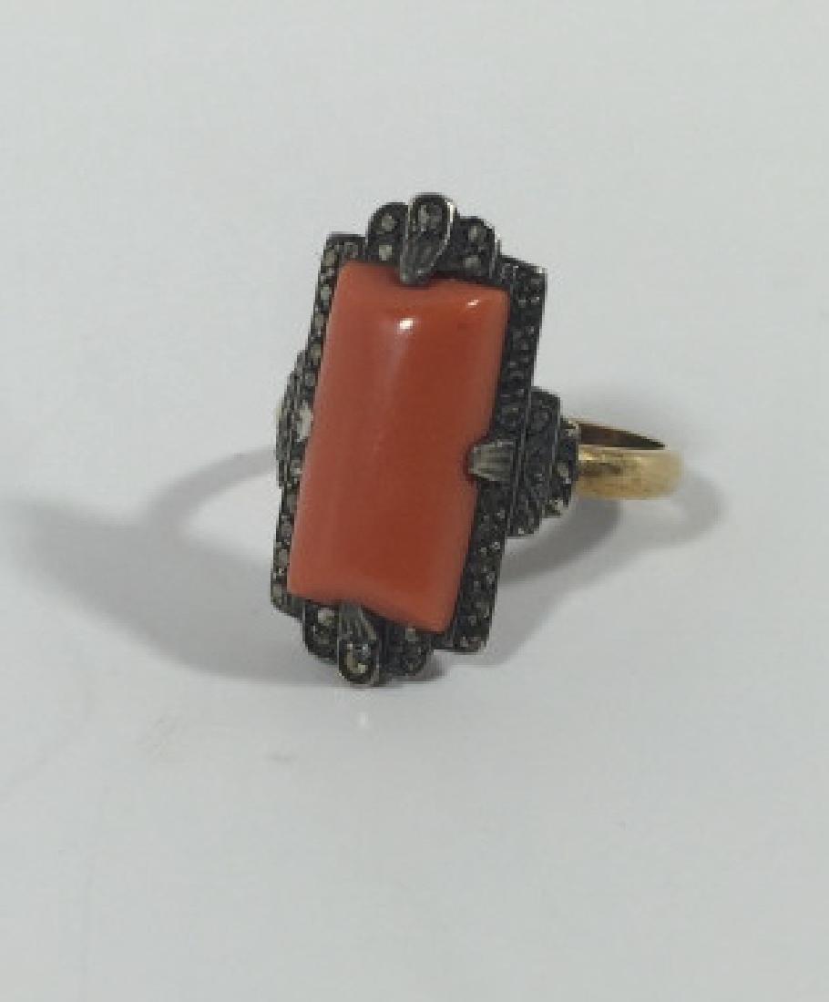 Antique Art Deco 14kt Gold Marcasite & Coral Ring