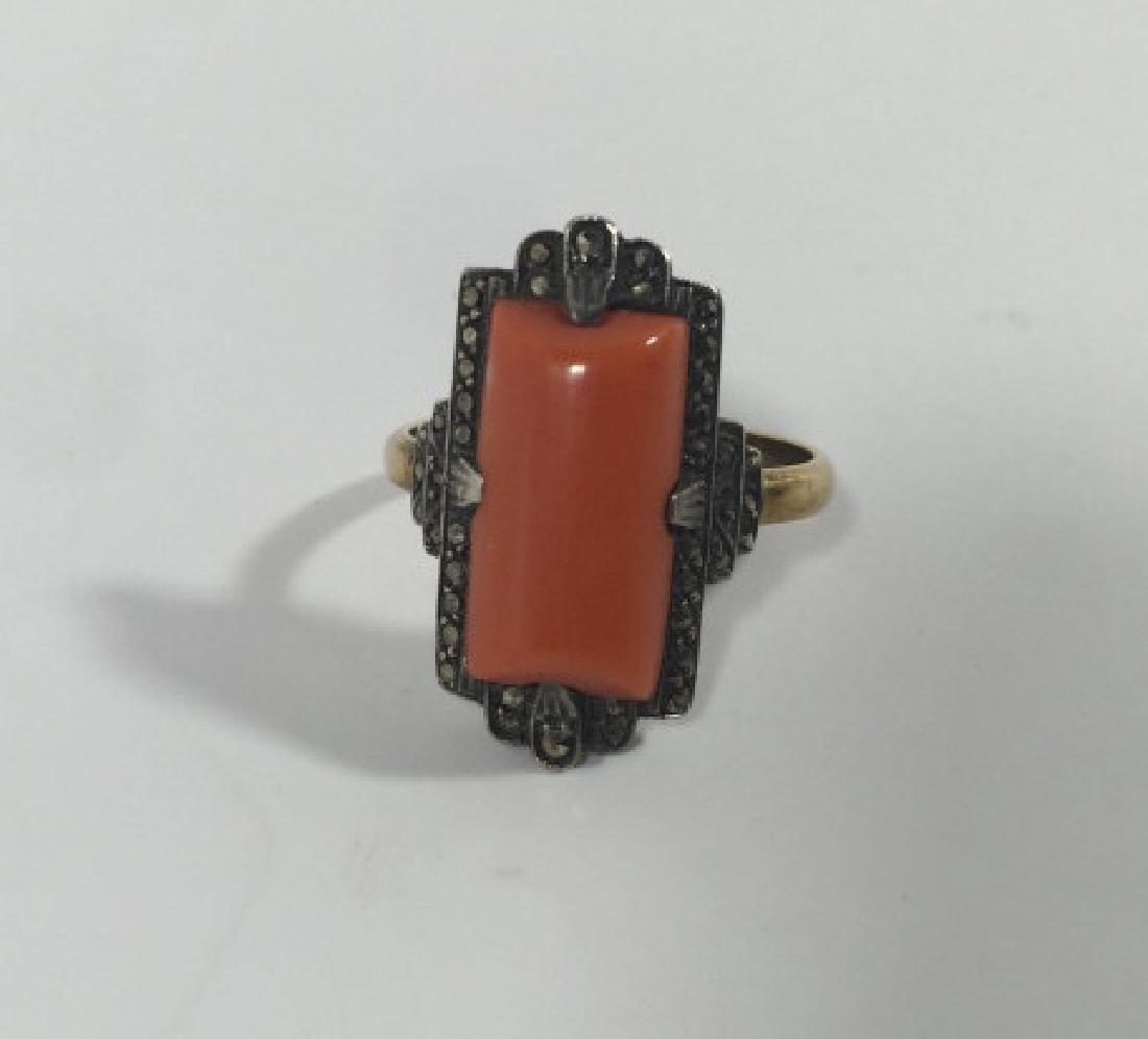 Antique Art Deco 14kt Gold Marcasite & Coral Ring - 2