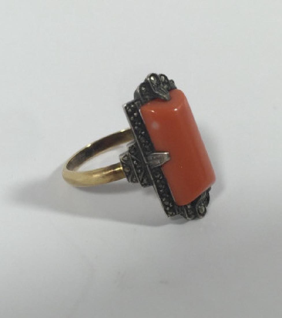 Antique Art Deco 14kt Gold Marcasite & Coral Ring - 3