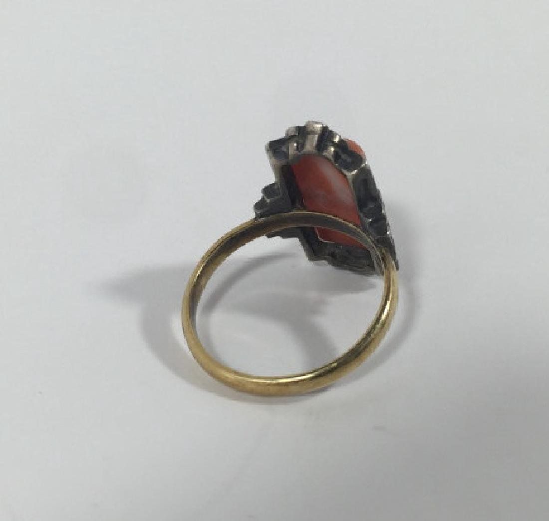 Antique Art Deco 14kt Gold Marcasite & Coral Ring - 4