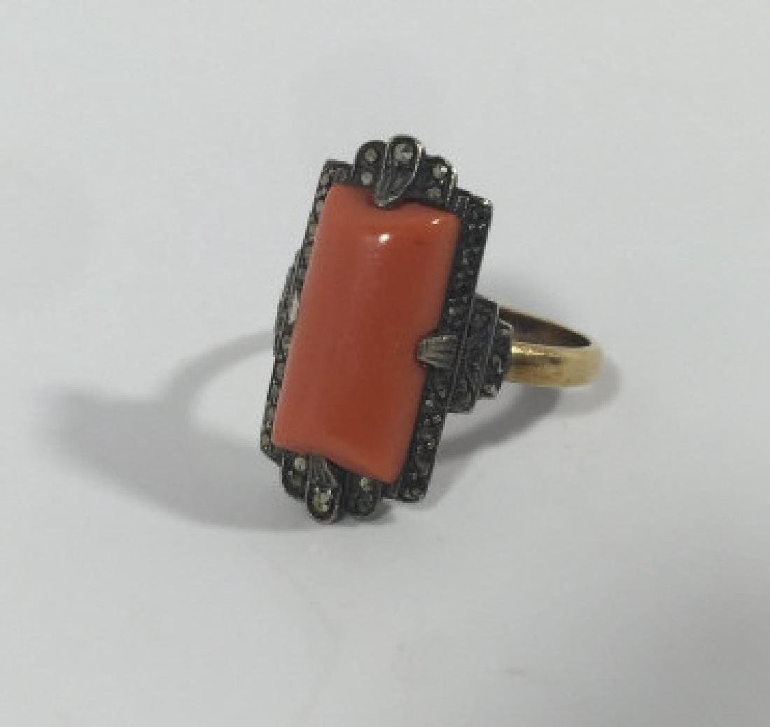Antique Art Deco 14kt Gold Marcasite & Coral Ring - 5