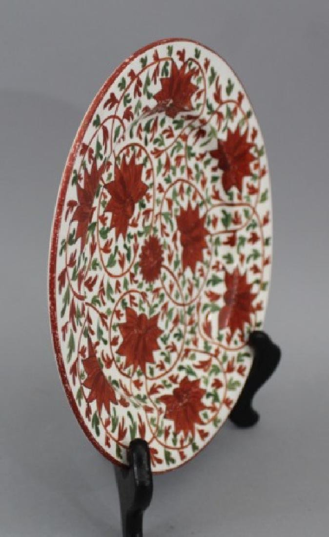 Pair Antique 19th C Hand Painted Gaudy Welsh Plate - 2