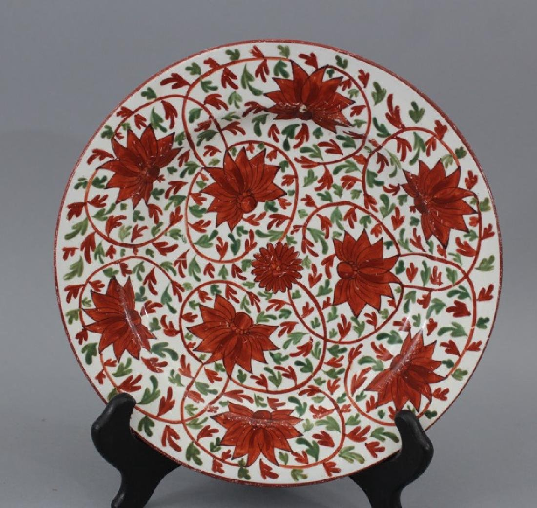 Pair Antique 19th C Hand Painted Gaudy Welsh Plate - 3