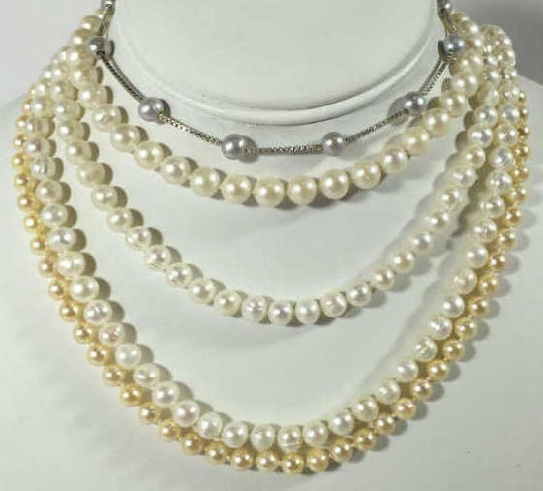 Group of Pearl Necklaces 2 Gold 1 Silver Clasp