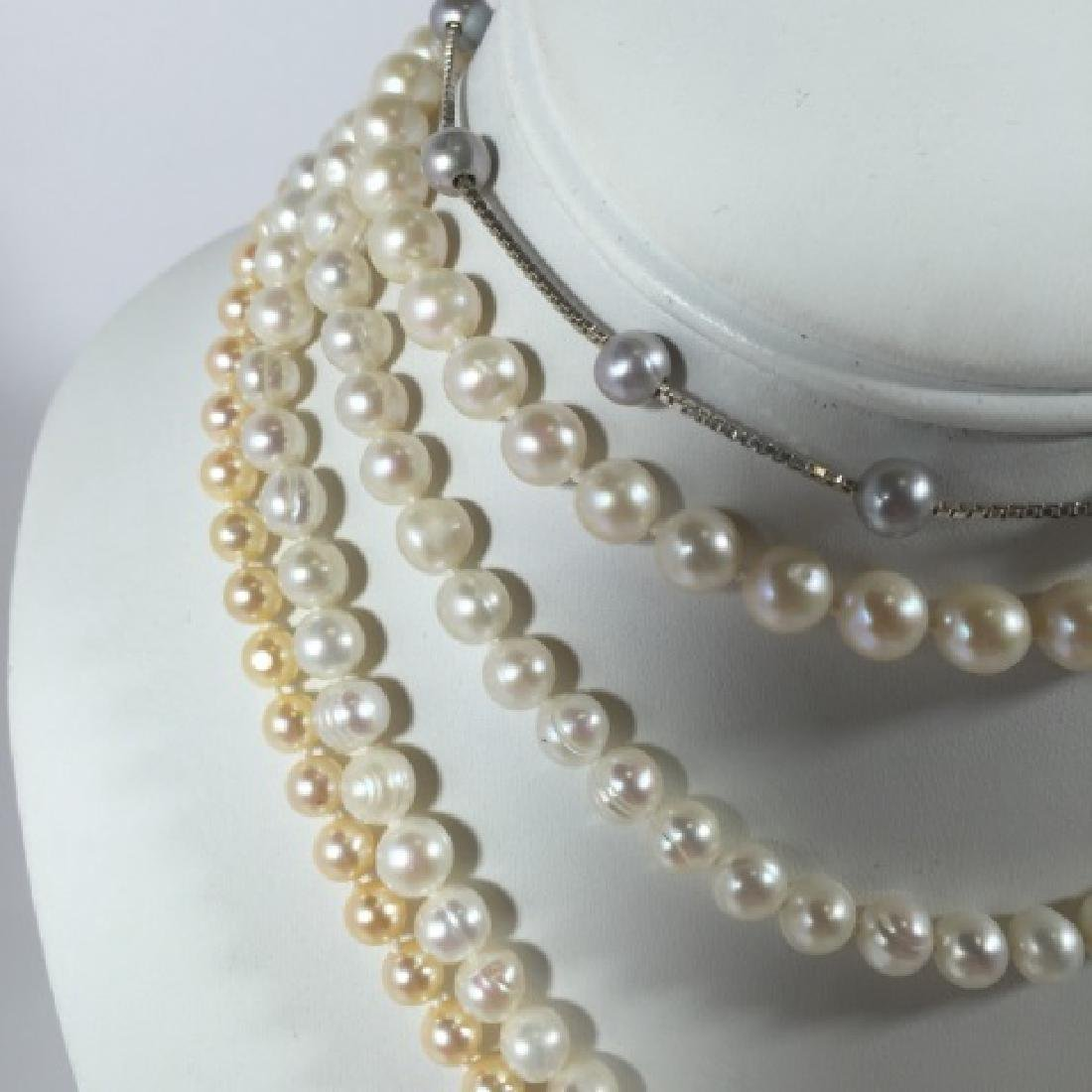 Group of Pearl Necklaces 2 Gold 1 Silver Clasp - 2