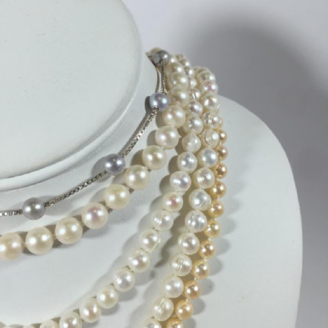 Group of Pearl Necklaces 2 Gold 1 Silver Clasp - 4