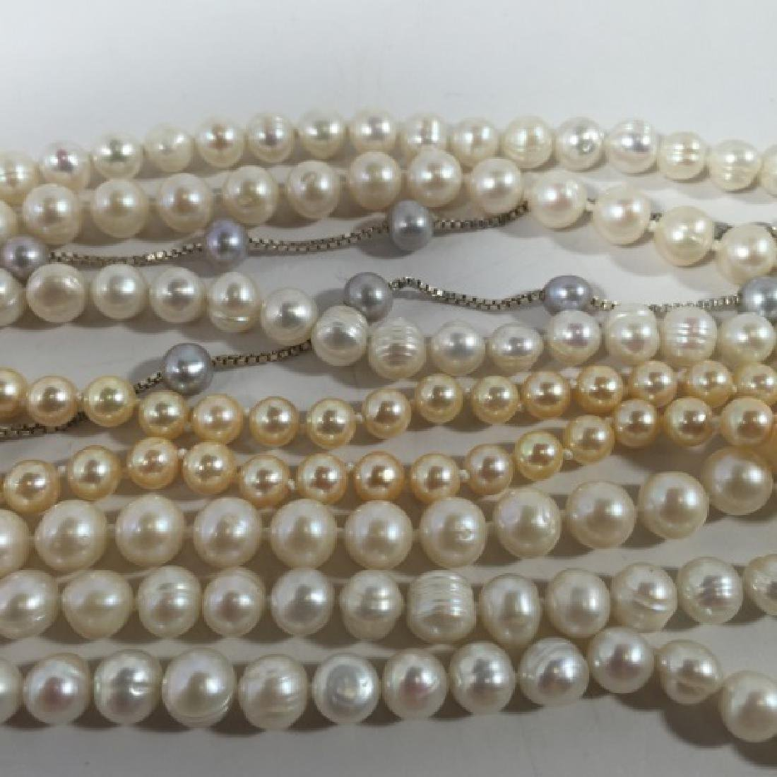 Group of Pearl Necklaces 2 Gold 1 Silver Clasp - 5
