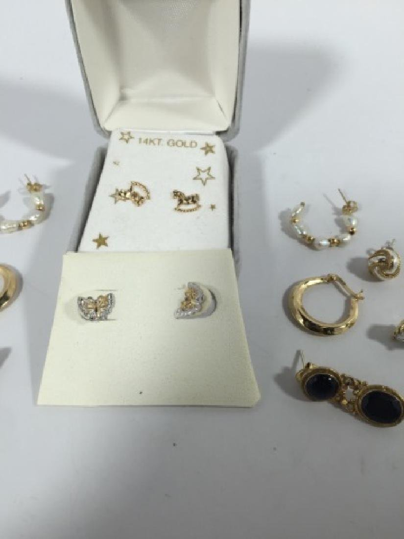 Assorted Vintage 14kt Gold & Gold Plated Earrings - 4