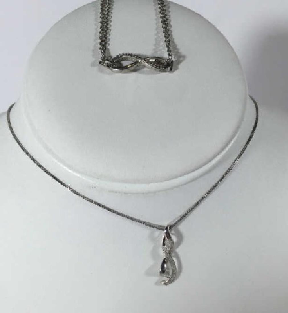 Sterling Silver & Diamond Necklace & Bracelet
