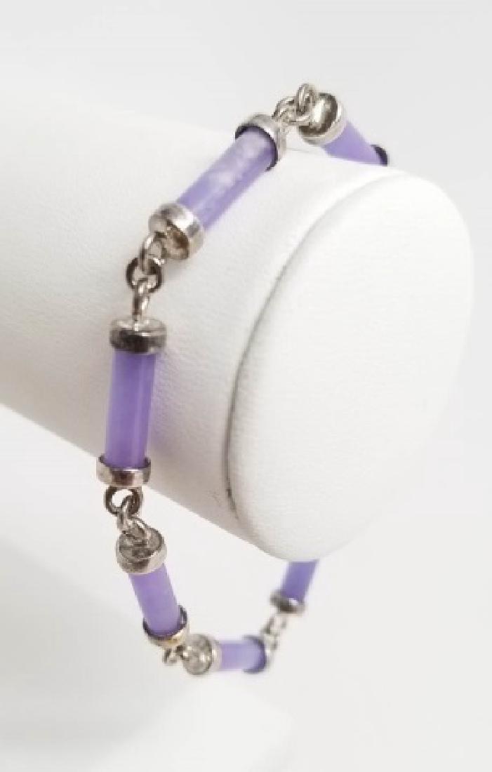 Sterling Silver & Carved Lavender Jade Bracelet