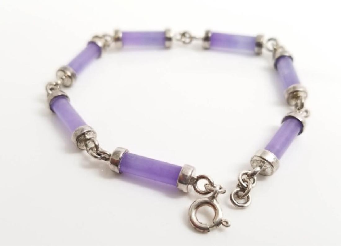 Sterling Silver & Carved Lavender Jade Bracelet - 2