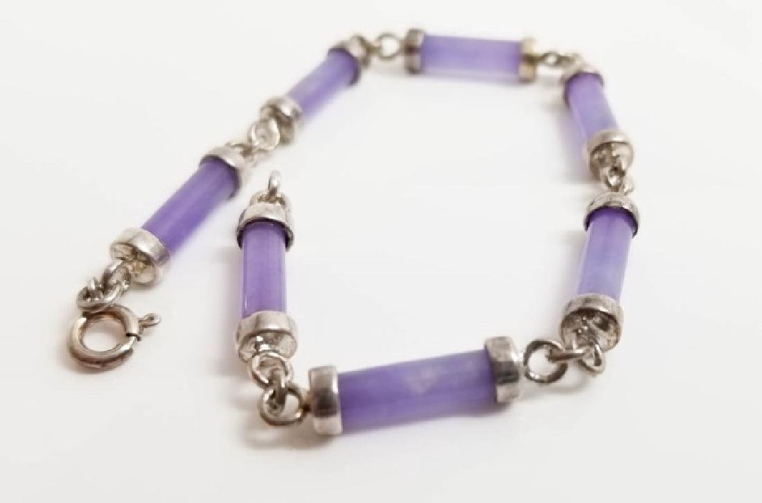 Sterling Silver & Carved Lavender Jade Bracelet - 3
