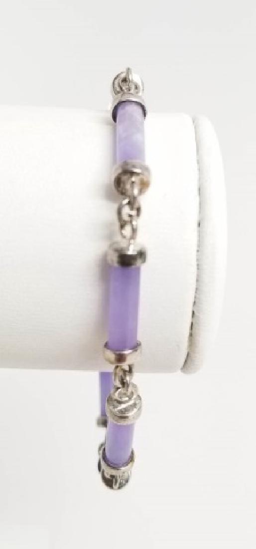 Sterling Silver & Carved Lavender Jade Bracelet - 5
