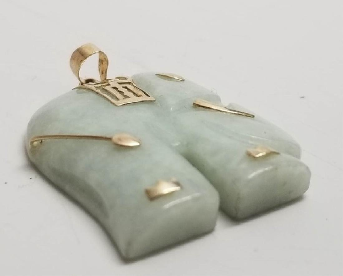 Estate Vintage Chinese Jade Gold Elephant Pendant - 5