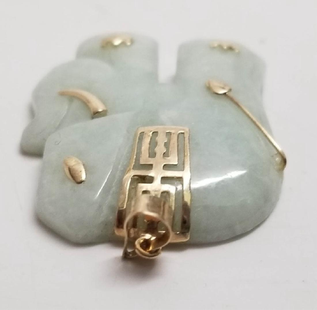 Estate Vintage Chinese Jade Gold Elephant Pendant - 6