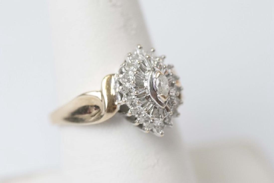 Estate Gold Navette Form Diamond Cluster Ring