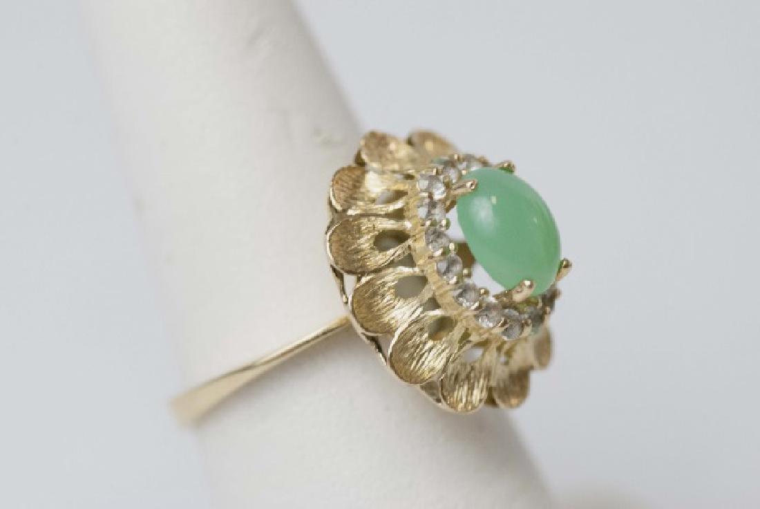 Estate Gold Cabochon Jade & Diamond Ring