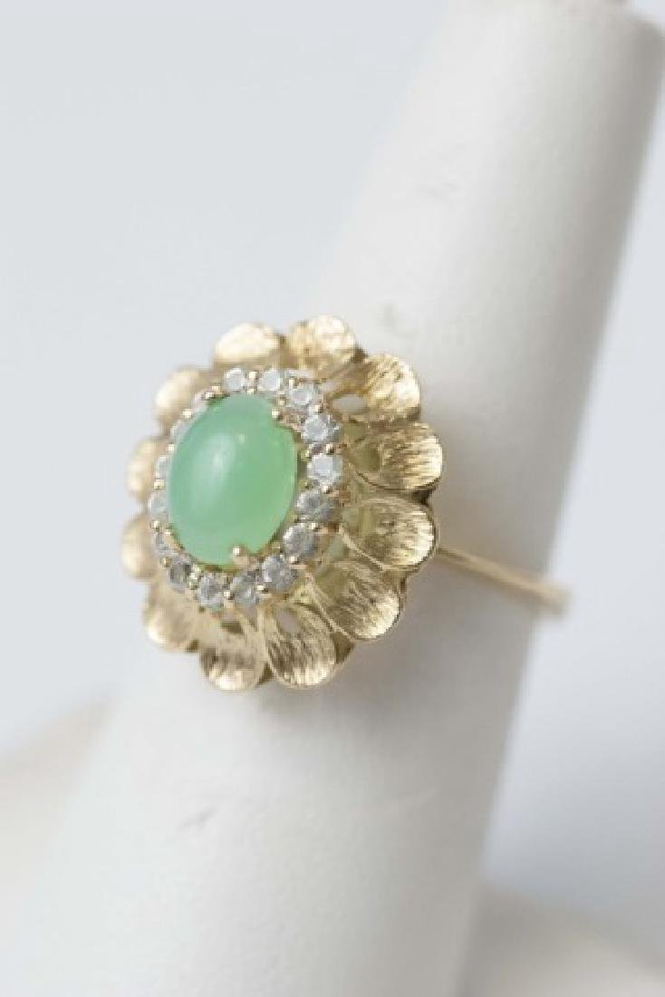 Estate Gold Cabochon Jade & Diamond Ring - 2