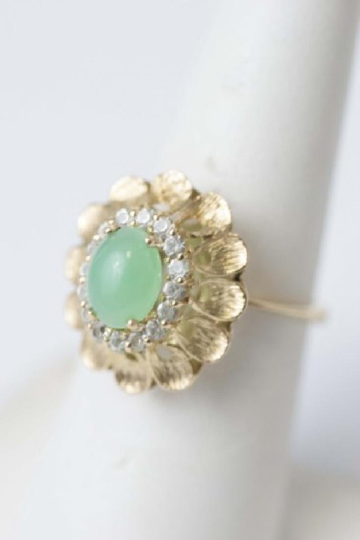 Estate Gold Cabochon Jade & Diamond Ring - 3