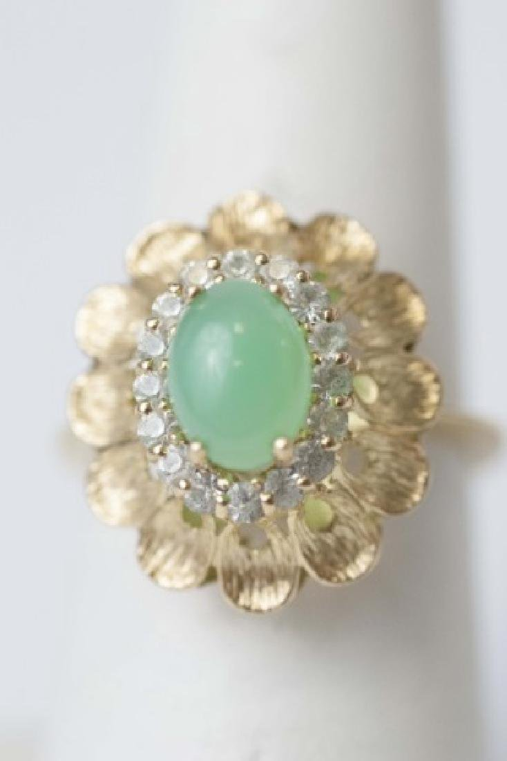 Estate Gold Cabochon Jade & Diamond Ring - 4