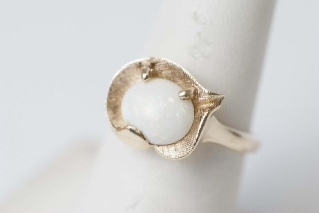 Estate Textured Yellow Gold & Cabochon Opal Ring
