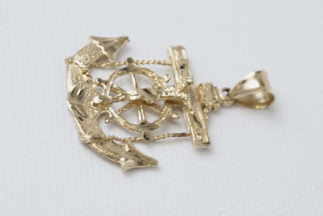 10kt Yellow Gold Crucifix w Ship Anchor Pendant