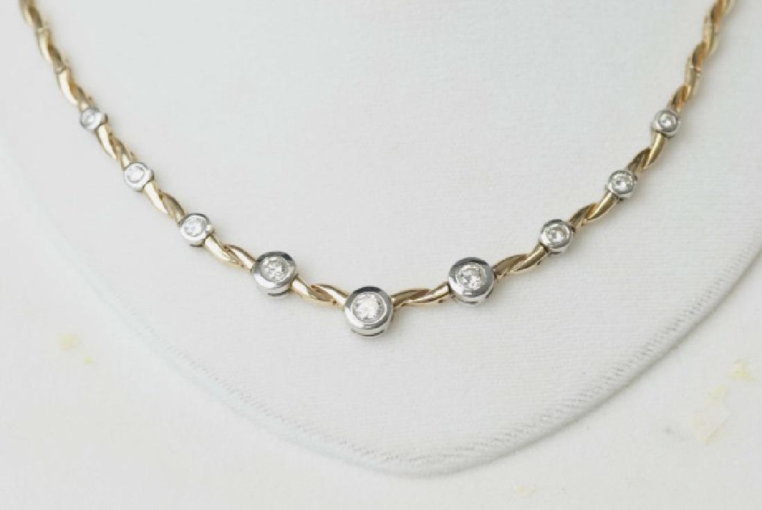 Estate 14kt Gold & 1.5 Carat Diamond Necklace