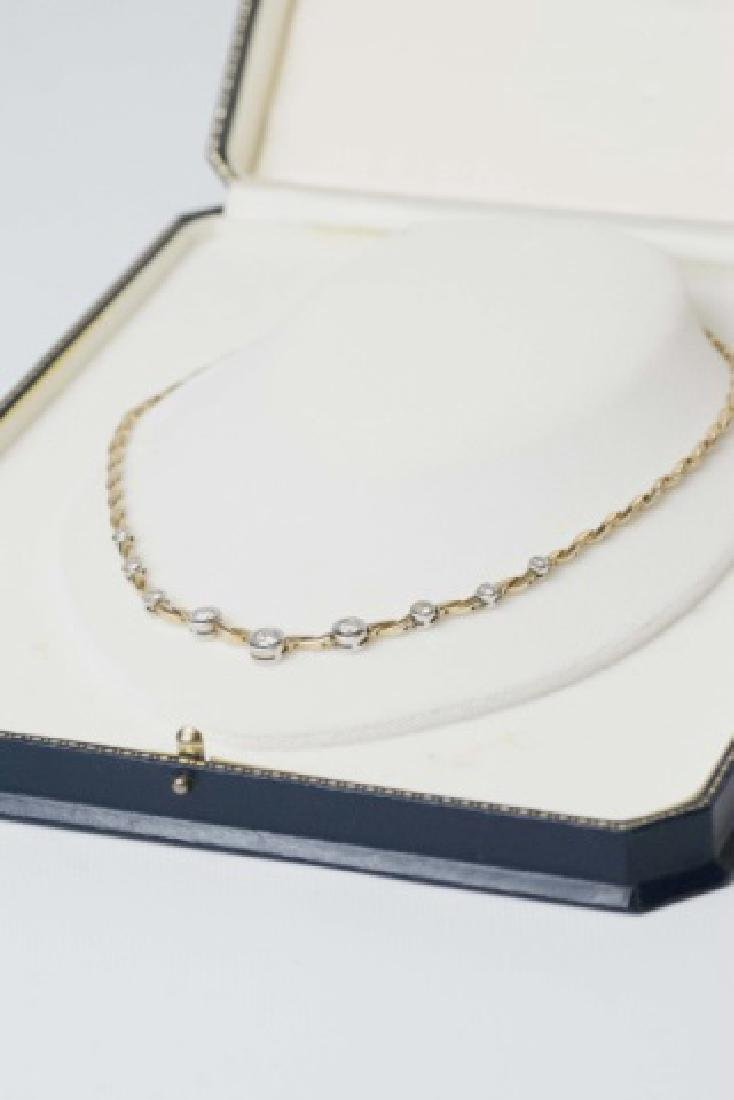 Estate 14kt Gold & 1.5 Carat Diamond Necklace - 3