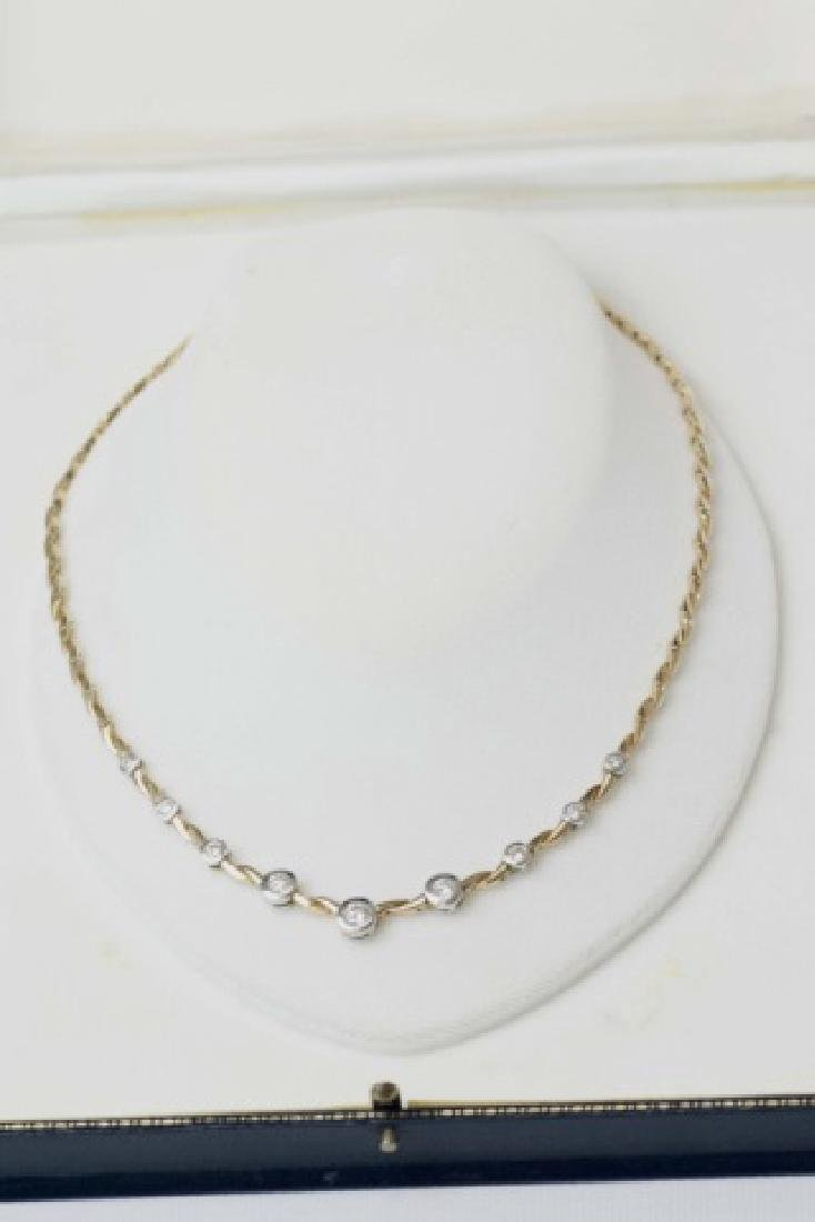Estate 14kt Gold & 1.5 Carat Diamond Necklace - 6