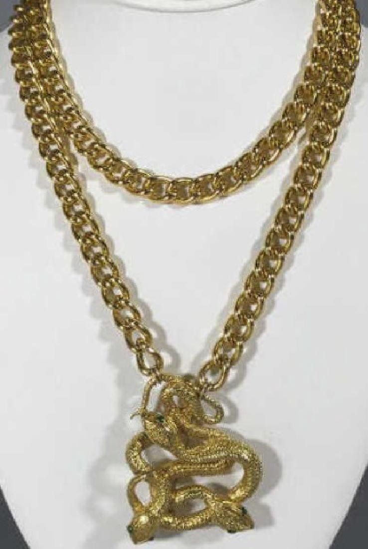 Victorian Style Gilt Metal Entwined Snake Necklace