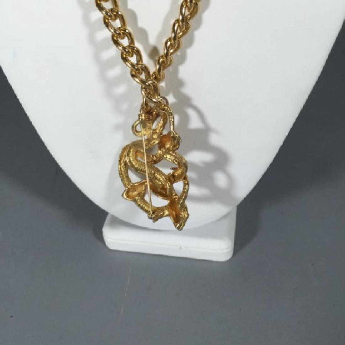 Victorian Style Gilt Metal Entwined Snake Necklace - 2