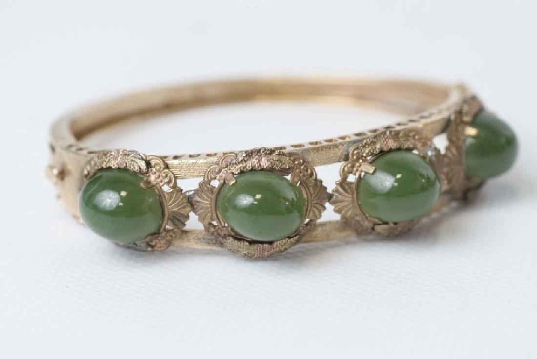 Estate 14kt Gold & Cabochon Jade Bangle Bracelet