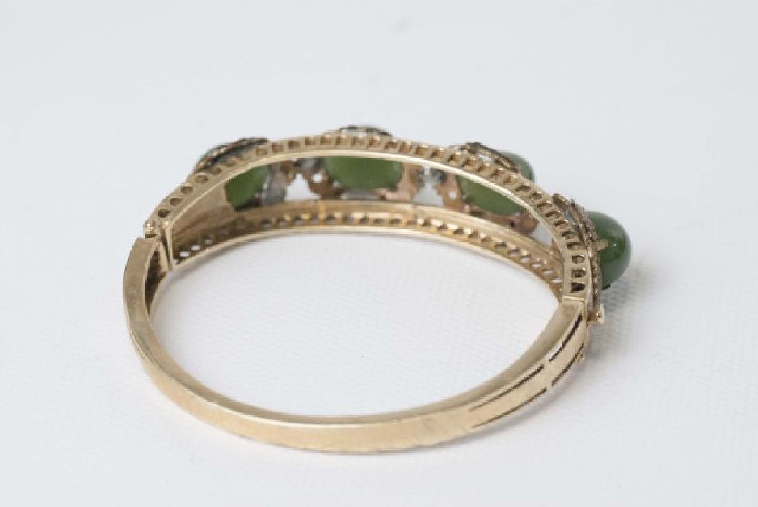 Estate 14kt Gold & Cabochon Jade Bangle Bracelet - 3