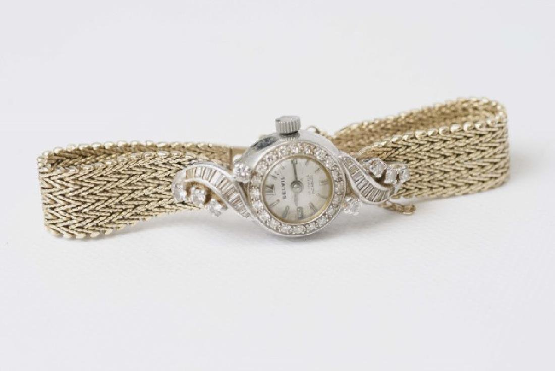 Estate 14kt Gold & Diamond Belvil 17 Jewel Watch